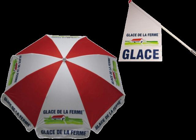 Parasol et drapeau Glace de la Ferme